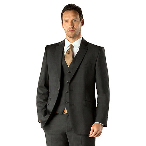 J by Jasper Conran - Charcoal pindot business 2 button tailored fit suit jacket