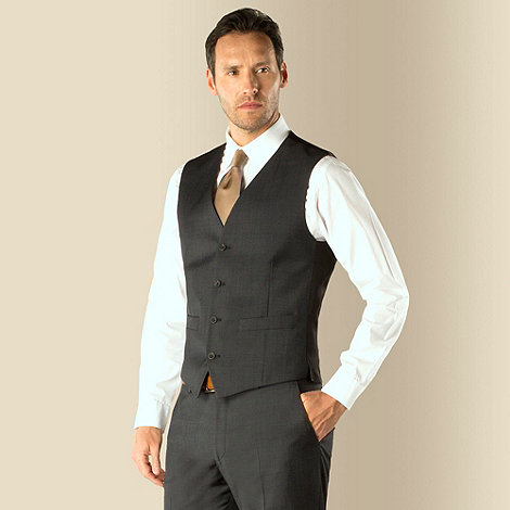 J by Jasper Conran - Charcoal pindot business 4 button tailored fit suit waistcoat