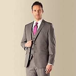 J by Jasper Conran - Grey prince of wales check luxury 2 button front tailored fit two piece suit
