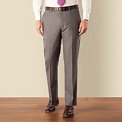 J by Jasper Conran - Grey prince of wales check luxury plain front tailored fit suit trouser