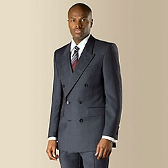 Hammond & Co. by Patrick Grant - Navy blue check double breasted tailored fit suit jacket