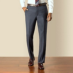 Hammond & Co. by Patrick Grant - Navy blue check plain front tailored fit suit trouser