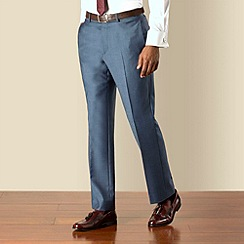 Hammond & Co. by Patrick Grant - Blue pindot plain front tailored fit suit trouser