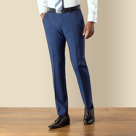 Stvdio by Jeff Banks - Blue mohair look plain front modern fit suit trouser