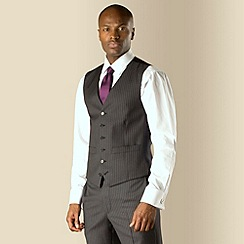 Hammond & Co. by Patrick Grant - Grey stripe 6 button front tailored fit suit waistcoat