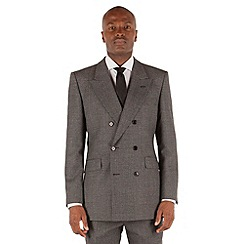 Hammond & Co. by Patrick Grant - Grey dogstooth double breasted tailored fit luxury suit