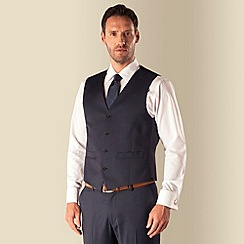 J by Jasper Conran - Navy pindot 4 button front tailored fit occasions suit waistcoat