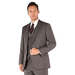 J by Jasper Conran - Grey pindot 1 button front tailored fit occasions suit