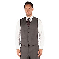 J by Jasper Conran - Grey pindot 4 button front tailored fit occasions suit waistcoat