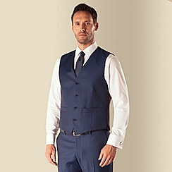 J by Jasper Conran - Blue sharkskin 4 button front tailored fit business suit waistcoat