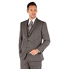 J by Jasper Conran - Grey broken check 2 button front tailored fit luxury suit jacket