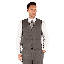 J by Jasper Conran - Grey broken check 4 button front tailored fit luxury suit waistcoat