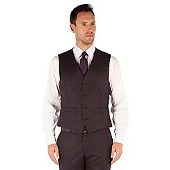 J by Jasper Conran - Aubergine flannel 4 button front tailored fit suit waistcoat