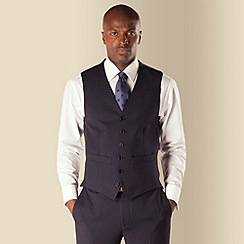 Hammond & Co. by Patrick Grant - Navy herringbone 6 button front tailored fit suit waistcoat