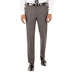 Hammond & Co. by Patrick Grant - Grey flannel dogstooth plain front tailored fit savile row suit trouser
