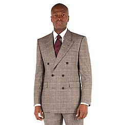 Hammond & Co. by Patrick Grant - Grey brown check double breasted front tailored fit savile row suit jacket