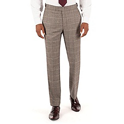 Hammond & Co. by Patrick Grant - Grey brown check plain front tailored fit savile row suit trouser