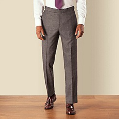 Hammond & Co. by Patrick Grant - Grey jaspe check plain front tailored fit suit trouser