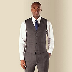Hammond & Co. by Patrick Grant - Grey check 6 button tailored fit suit waistcoat