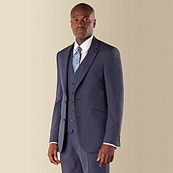 Occasions - Blue plain weave tailored fit 2 button suit