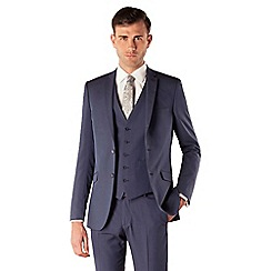 Occasions - Blue plain weave slim fit 2 button jacket
