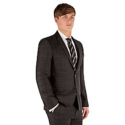 Ben Sherman - Charcoal flannel check 2 button front super slim fit camden suit jacket