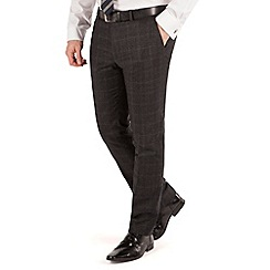 BEN SHERMAN - Charcoal flannel check plain front super slim fit kings suit trouser