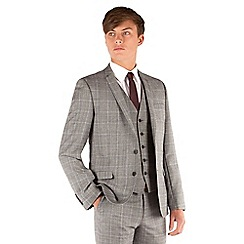 BEN SHERMAN - Grey heritage check 2 button front super slim fit camden suit jacket
