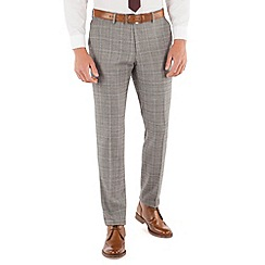 Ben Sherman - Grey heritage check plain front super slim fit camden suit trouser