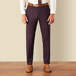 BEN SHERMAN - Plum tonic plain front super slim camden suit trouser