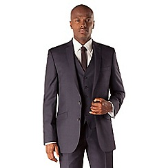 BEN SHERMAN - Blue check 2 button front slim fit kings suit jacket