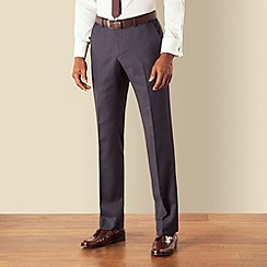 BEN SHERMAN - Blue check plain front slim fit kings suit trouser