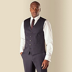 BEN SHERMAN - Blue check 5 button front slim fit kings suit waistcoat
