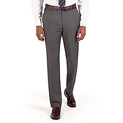 BEN SHERMAN - Mid grey pindot plain front slim fit kings suit trouser