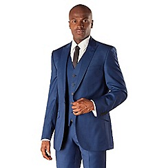 BEN SHERMAN - Blue pick and pick 1 button front slim fit kings suit jacket