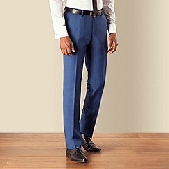 BEN SHERMAN - Blue pick and pick plain front slim fit kings suit trouser