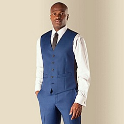 Ben Sherman - Blue pick and pick 5 button front slim fit kings suit waistcoat