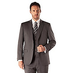Racing Green - Grey herringbone 2 button front regular fit suit
