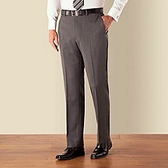 Racing Green - Grey herringbone plain front regular fit suit trouser