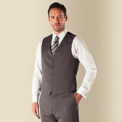 Racing Green - Grey herringbone 5 button front regular fit suit waistcoat