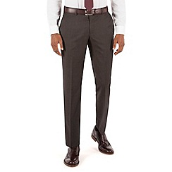 Racing Green - Brown pindot tailored fit suit trousers