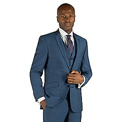 Racing Green - Bright blue semi plain 2 button front tailored fit suit jacket