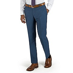 Racing Green - Bright blue semi plain plain front tailored fit suit trouser