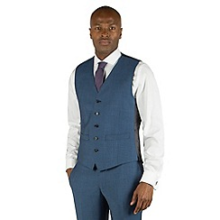 Racing Green - Bright blue semi plain 5 button front tailored fit suit waistcoat