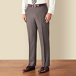 Racing Green - Grey birdseye plain front regular fit suit trouser