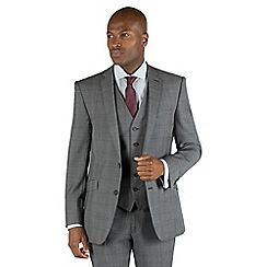 Racing Green - Grey check with burgundy overcheck 2 button front tailored fit suit jacket