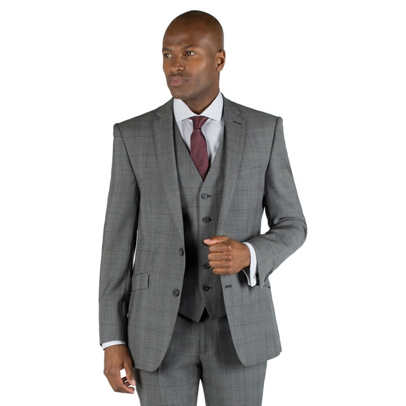 Racing Green Grey check with burgundy overcheck 2 button front tailored fit suit jacket