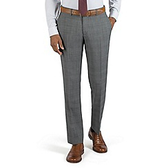 Racing Green - Grey check with burgundy overcheck plain front tailored fit suit trouser