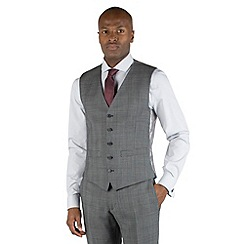 Racing Green - Grey check with burgundy overcheck 5 button front tailored fit suit waistcoat