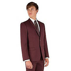 Red Herring - Burgundy plain 2 button slim fit suit jacket